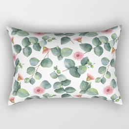 Eucaliptus and pink flowers pattern Rectangular Pillow