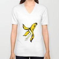banana V-neck T-shirts featuring banana by shunsuke art