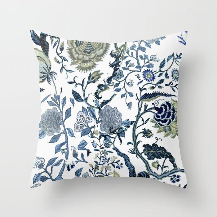 Blue vintage chinoiserie flora Deko-Kissen