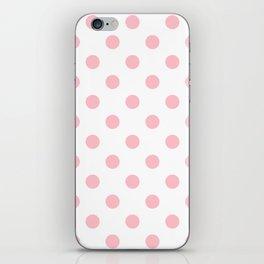 Polka Dots - Pink on White iPhone Skin