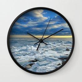 Icy Lake Ontario Sunset. Wall Clock