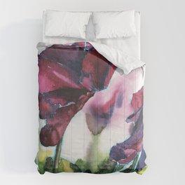 Cyclamen watercolor, pink flowers Comforters