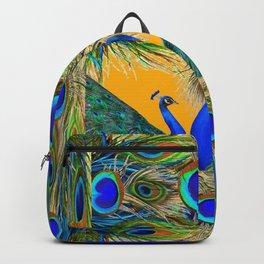 BLUE PEACOCKS  GOLDEN FEATHER DESIGN PATTERNS GN Backpack