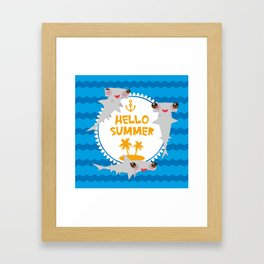 Hello Summer. Kawaii hammerhead shark Framed Art Print