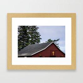 Cross and Barn Framed Art Print