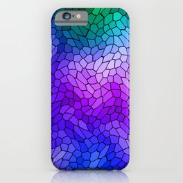 Volumetric texture of pieces of violet glass with a light mysterious mosaic. iPhone Case