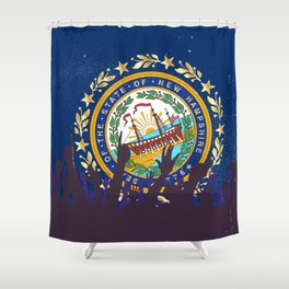 New Hampshire State Flag with Audience Shower Curtain