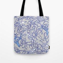 Squids of the inky ocean Tote Bag