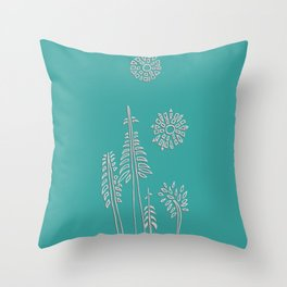 Forest Bathing - Teal Throw Pillow