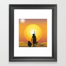 Walking under two suns Framed Art Print