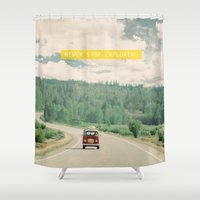 dreams Shower Curtains featuring NEVER STOP EXPLORING - vintage volkswagen van by Leslee Mitchell