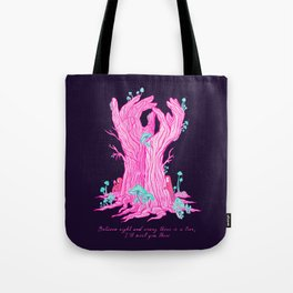 "The Tree Hand. Rumi quote inspired ""between right and wrong"" Tote Bag"