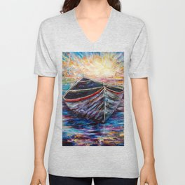 Wooden Boat at Sunrise my Painting with a Palette Knife Unisex V-Neck