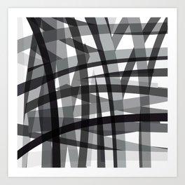 grey crossed stripes Art Print