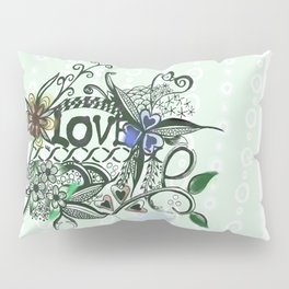 """Pen and ink drawing illustration,""""LOVE"""" wall art, home decor design Pillow Sham"""