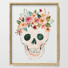 PRETTY OUTLAW Flower Crown Skull Serving Tray