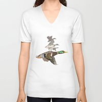 ducks V-neck T-shirts featuring Flying Ducks by smoothimages