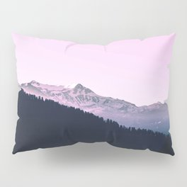 Mountain Forest Sky Pink Pastel Pillow Sham