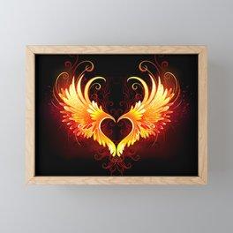 Angel Fire Heart with Wings Framed Mini Art Print