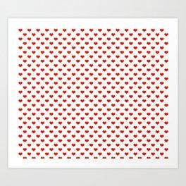 '80s Hearts - Red 2 - Back to Basics Art Print