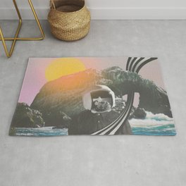 Visiting //// Astronaut Moon Landing Space Collage Art Rug