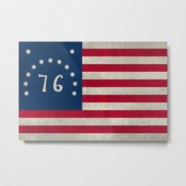 American Bennington flag - Vintage Stone Textured Metal Print