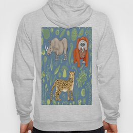 endangered animals, black rhino, amur leopard, bornean orangutan Hoody