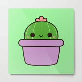 Cute cactus in purple pot Metal Print