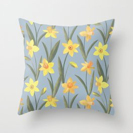 Spring Daffodils Floral Pattern Throw Pillow