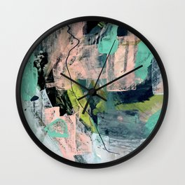 Connect [4] : a vibrant acrylic abstract in neon green, blues, pinks, & hints of orange Wall Clock