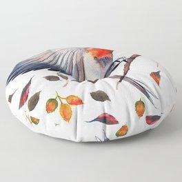 Flying Bird in Leaves Floor Pillow