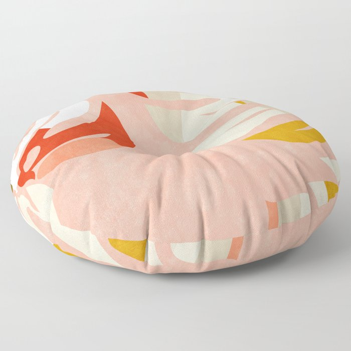 shapes leave minimal abstract art Floor Pillow