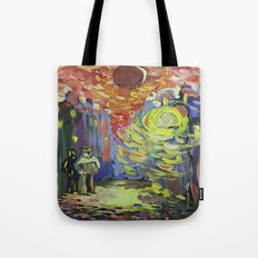 Loneliness under the street light Tote Bag