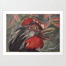 Black Rooster Crows Art Print