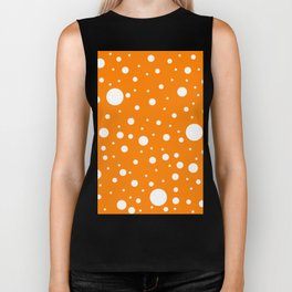 Mixed Polka Dots - White on Orange Biker Tank