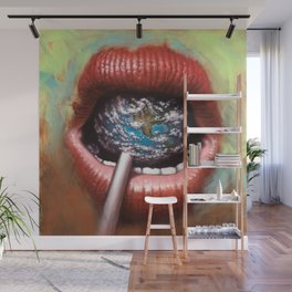 Woman's lips sucking on an earth lollipop - Titled: Suck on This Wall Mural