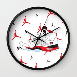 Jordan 5 Fire Red Wall Clock