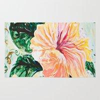 hibiscus Area & Throw Rugs featuring Hibiscus by JeleataNicole