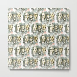 watercolor faces pattern Metal Print
