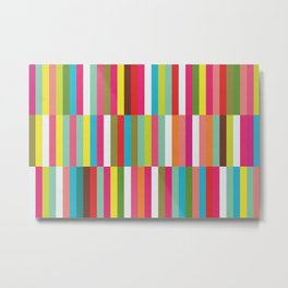 Bright Colorful Stripes Pattern - Pink, Green, Summer Spring Abstract Design by Metal Print