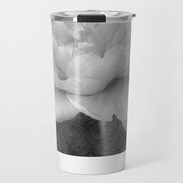 Peony in Black and White Travel Mug