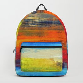 Horizon Blue Orange Red Abstract Art Backpack
