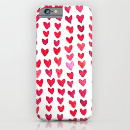 Brush stroke hearts - red iPhone Case