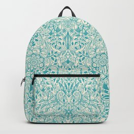 Detailed Floral Pattern in Teal and Cream Backpack