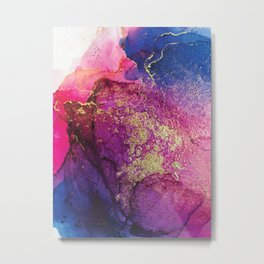 Pink, Gold and Blue Explosion Painting Metal Print