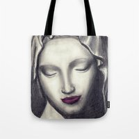madonna Tote Bags featuring Michelangelo Madonna  by augusta marya