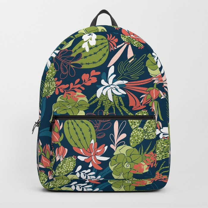 Succulent Garden Navy Backpack