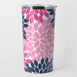 Flower Burst Petals Navy Pink Travel Mug