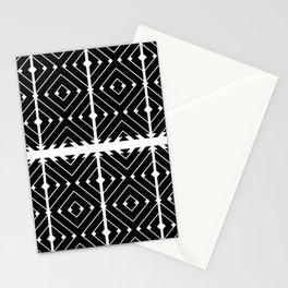 MONOCHROMA Geometrica : Black & White Box Pattern Stationery Cards