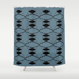 Ethno design blocks, silver Shower Curtain